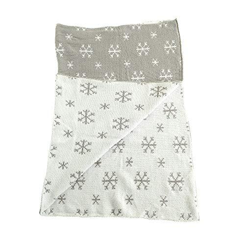 Ziggle bébé d'hiver couverture dans snowflakes gris et blanc nursery lit bébé et pram, 2 couches, chenille tricotées, nouveau cadeau bébé