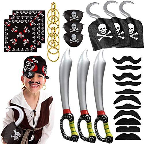 MMTX 13pcs Accessoires Pirate Anniversaire, Crochet de Pirate, Bandana, Cache-œil, Épée Gonflable, Halloween, Fête de Carnaval