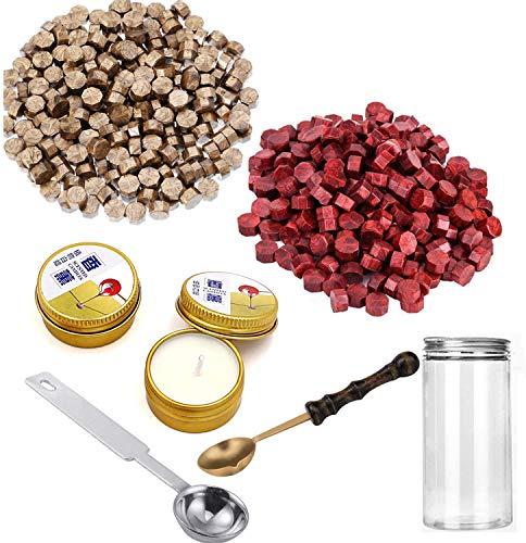 300 perline ottagonali in ceralacca con 2 cucchiaio in rame per sciogliere la cera e 2 candele da tè per sigillo di cera, timbro, regalo di nozze (rosso vino) Wine Red+Gold