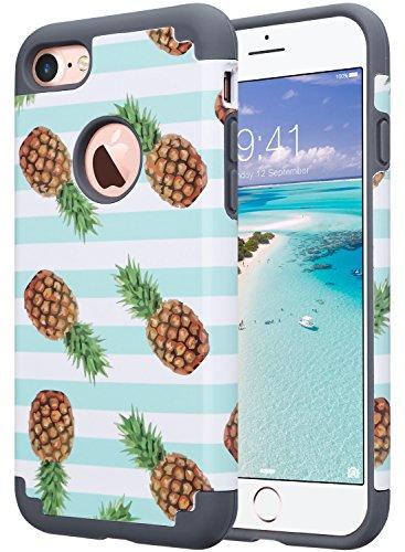 ULAK Cover iPhone 7, Cover per iPhone 7 Marmo Custodia Stampato Design PC + Silicone Ibrido Impatto Grande Difensore Combo Duro Morbido Case per Apple iPhone 7 4.7' (Ananas/Mint)
