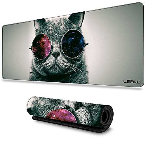 LIEBIRD Cool Cat Extended XXXL Gaming Mouse Pad - 31.5Lx11.8Wx0.12H - Portable with Extended XXL Size - Non-Slip Rubber Base - Special Treated Textured Weave with Precision Control
