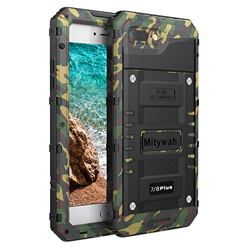 Mitywah Shockproof case for iPhone 7/8 Plus, Waterproof Heavy Duty Military Grade Defender Cover Built-in Screen Protection, Metal Strong Armor Dustproof Case for iPhone 7/8 Plus, Camouflage