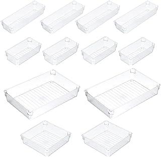 Lurrose 12 Peças de Plástico Transparente Gaveta Bandeja Organizador Organizadores Caixas De Armazenamento Versátil Banhei...