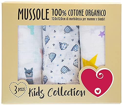 Muselina de bebé de algodón suave y orgánico para niños y bebés. Ideal como toallas, mantas para cunas, cochecitos. 100 % hipoalergénico, 120 x 120 cm, paquete de regalo