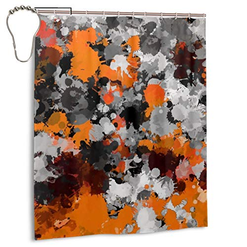 Izumo Orange and Grey Paint Splatter Shower Curtains Waterproof Bathroom Shower Curtain Set with Hooks Heavy Duty Fabric Bath Curtain for Bathtub Showers Bathroom Decor 60' W X 72' H