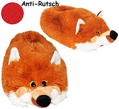 alles-meine.de GmbH Hausschuhe / Pantoffel -  Fuchs  - Größe Gr. 43 - 44 - 45 - 46 - 47 - 48 __ schön warm __ Plüschhausschuh / Tier - Tiere - für Kinder & Erwachsene - ABS Soh..