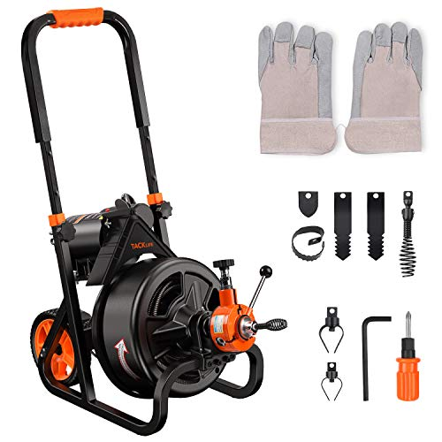 Drain Cleaner Machine, TACKLIFE 75 Ft x 1/2 Inch Plumbing Snake Drain Auger, Fit 2''-4''(50mm-100mm) Pipes, Autofeed, Electric Drain Snake with 6 Cutters, Professional Pipe Cleaner for Plumbers-DCM01A