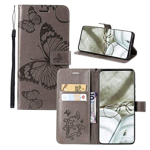 JZ Embossed 3D Butterfly Flip Cover For para Samsung Galaxy J1 2016 Protective Phone Wallet Funda [Magnetic & Wrist Strap] - Gray