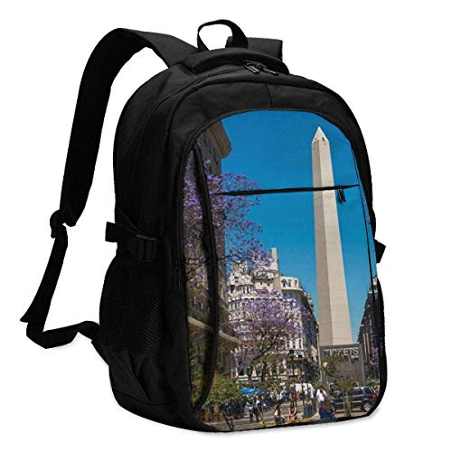 XCNGG Mochila USB con múltiples bolsillos, mochila informal, mochila escolar Laptop Backpacks Tactical Buenos Aires, Argentina - December Office & School Supplies with USB Data Cable and Music Jack La