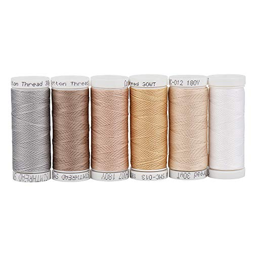 30WT Cotton Embroidery Sewing Thread for Hand or Machine Embroidery Sewing Quilting Piecing Applique etc (6 Light Colors)
