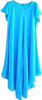 Lightweight Cotton Long Swing Dress in 4 Pastels OneSize