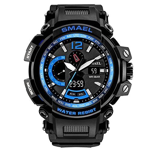 GXHQFJY - Reloj analógico digital deportivo para hombre, resistente al agua, LED, digital, con cronómetro, azul oscuro,