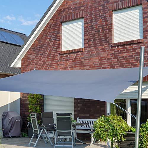 Toldoro Sonnensegel Komplettset Rechteck PES 2 Wandhalter / 2 Höhenverstellbare Edelstahlmasten Ø70x3mm 6x4m anthrazit
