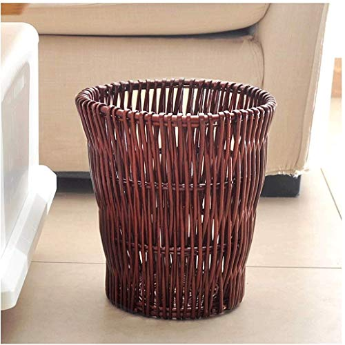 SHYPT Woven Water Wicker Waste Basket, Natural Woven Wicker Waste Bin, Perfect for Dorms, Bathrooms, Offices (Color : Natural) (Color : B)