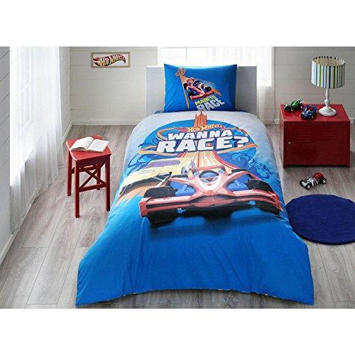 TI Home Hot Wheels Race Licensed Duvet Cover Set, 100% Cotton Ranforce, Single Size 3-Piece Bedding Set