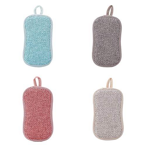 HiCollie Lot De 4 Eponges Vaisselle Reutilisable en Microfibre - Éponge Lavable Ecologique Grattante - Tampons Antibactérienne pour Nettoyage Vaisselle Poêles Pots avec Crochet Adhésif