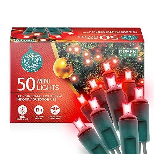 Holiday Spirit Christmas Lights, 50 LED Mini Christmas String Lights for Indoor & Outdoor Use, 120V UL588 Listed Light Strings for Christmas Tree Decoration, Light Displays, Parties (50, Red)