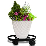 Amagabeli 14' Metal Plant Caddy Heavy Duty Iron Potted Plant Stand With Wheels Round Flower Pot Rack on Rollers Dolly Holder on Wheels Indoor Outdoor Planter Trolley Casters Rolling Tray Coaster Black