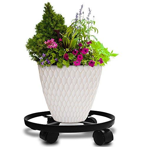 Amagabeli Paquet de 2-35.5 * 8CM Plateau à roulettes pour Plantes - Support de Pot de Fleurs à roulettes Caddy Extérieur de Plante pour Jardins de Maison Noir
