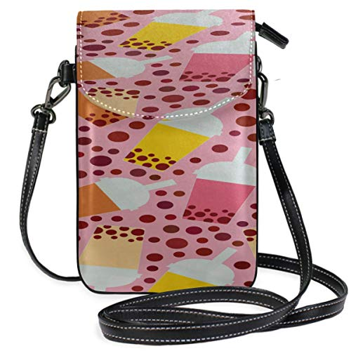Lawenp Leather Phone Bag Holder Colorful Summer Dessert Fruit Cup Print Pouch Cell Phone Holder Bag Phone Holder Purse Wallet Travel Passport Bag Handbags For Women