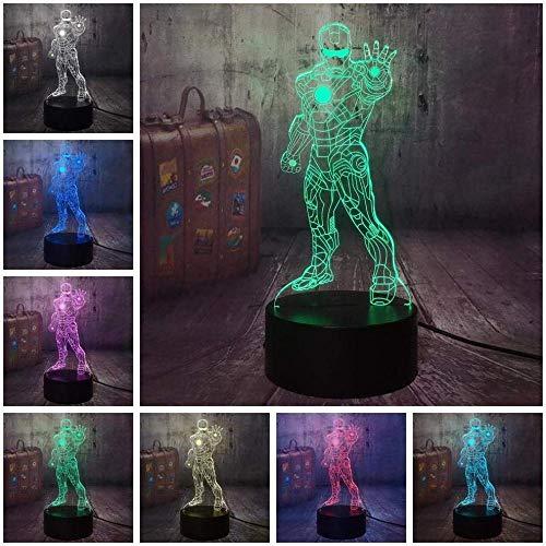 3D Luz Nocturna Led lámpara de proyección lámpara Avengers Iron Man Unlicensed mejor regalo de para niños y niñas Con interfaz USB, cambio de color colorido