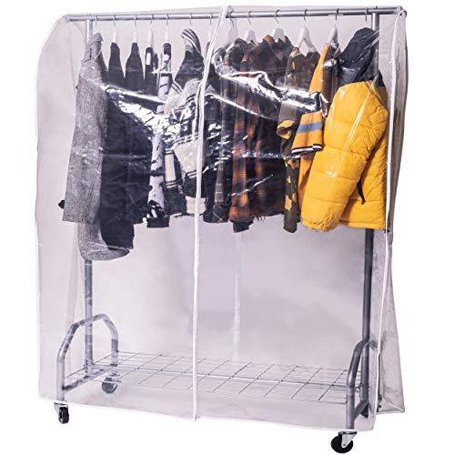 ONVAYA Kleiderständer mit Abdeckung | hohe Traglast | stabil | mit Rollen und Ablagefach | Abdeckhülle | Schwerlast | bis 100 kg | Metall/Kunststoff | Silbergrau | 120 x 50 x 180 cm