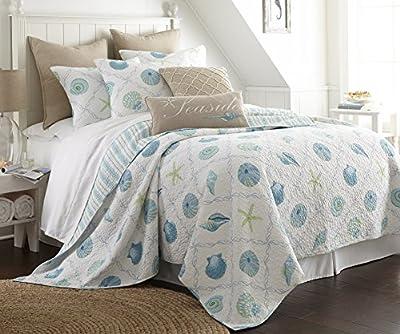 Levtex Marine Dream Seaglass Twin Cotton Quilt Set White, Aqua Coastal