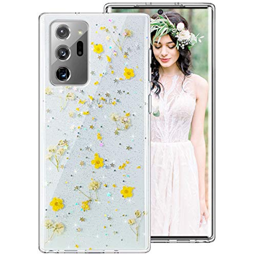 Galaxy Note 20 Ultra Case for Women Girls, iDLike Clear Glitter Pressed Dried Real Floral Flower Cute Design Soft Silicone Protective Phone Case Cover for Samsung Galaxy Note 20+ Ultra Plus,Yellow