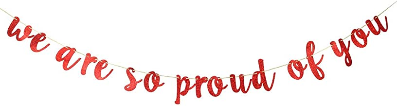 INNORU We are So Proud of You Banner - Red Glitter 2019 Congrats Graduate Banner - 2020 Grad Party Decorations Supplies