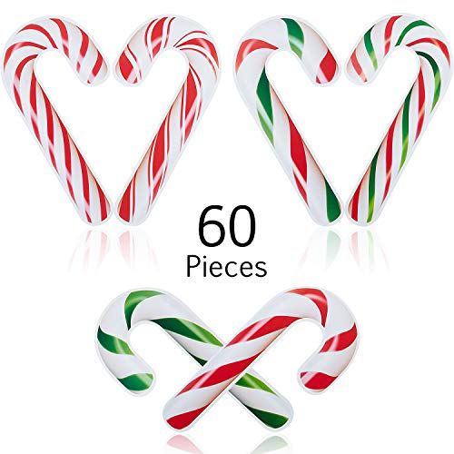 60 Decoraciones de Navidad de Bastón de Caramelo Mini Recortes de Bastón de Caramelo Siluetas de Caramelos para Decoración Artesanal de Pared de Hogar Tablón de Anuncios de Escuela Fiesta de Navidad