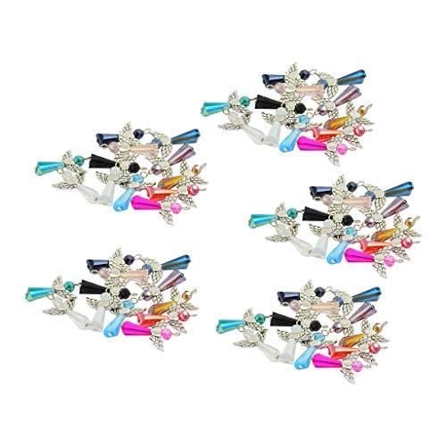 Harilla 60pcs Mezclan Los Colgantes de Los Encantos de Las Alas del ángel Cuentas de Cristal Facetadas para La Fabricación de La Joyería