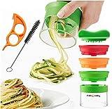 Premium 3 lama spirale taglierina mano per le verdure Spaghetti di patate - con il mazzo libro di cucina e contiene la spazzola per la pulizia - FabQuality zucchine asparagi pelapatate, cetrioli