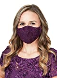 Alex Evenings Women's Reusable Lined Wedding Special Occasion Elegant Lace Face Mask, Deep Plum, ONE Size