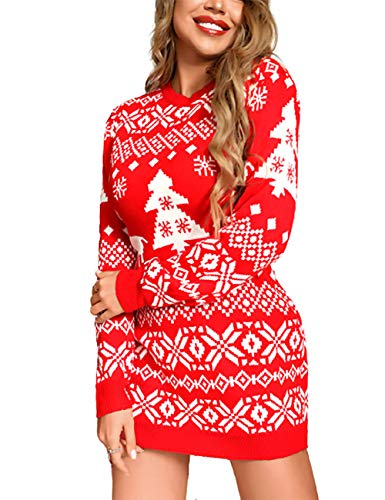 CHICME Women's Casual Christmas Mixed Print Pullover Tops Knitted Long Sleeve Sweater Dress Red S