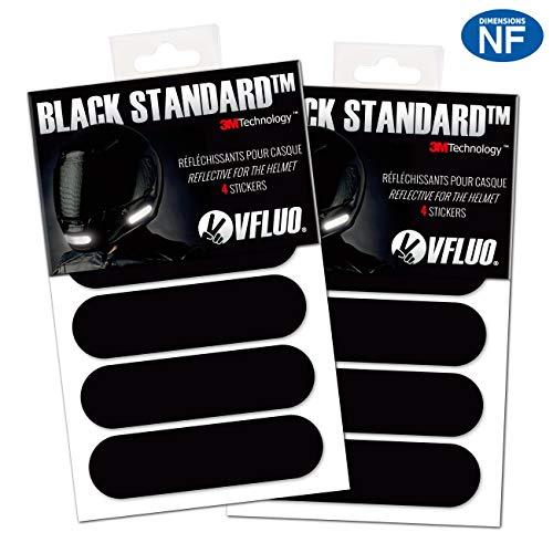 VFLUO Black Standard, (Lot de 2) Kit 4 Bandes Stickers rétro réfléchissants pour Casque Moto, 3M Technology, Noir