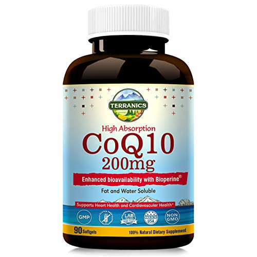 Terranics CoQ10 with BioPerine 200mg, 90 Softgels, Premium Qulity, 3x Better Absorption, Water and Fat Soluble, Supports Heart Health and Energy Production, NON-GMO, Soy, Dairy & Gluten Free, for men