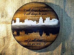 city skyline silhouette art ~ personalized wooden slice