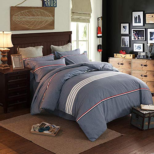 N / A Thickened brushed four-piece cotton bedding sheet quilt cover sheet suitable for single double king-Duvet_cover220cm*240cm(4pcs)_gray1