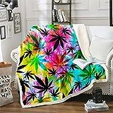 Marijuana Leaf Sherpa Blanket Cannabis Leaves Fleece Throw Blanket for Bed Couch Sofa Boho Hippie Tie Dye Decor Plush Blanket Youth Botanical Warm Fuzzy Blanket Twin 60'x80'