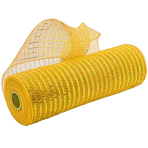 Gaoqi Poly Mesh Ribbon with Metallic Foil Each Roll for Wreaths Swags Bows Wrapping and Decorating