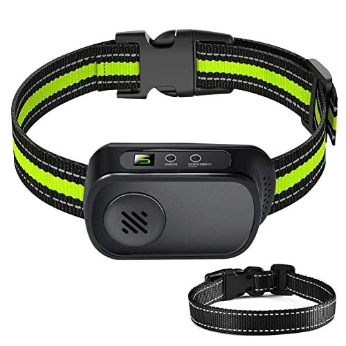 YOKISS wiederaufladbares Hundehalsband - Vibrations- / Tonmodi - 2 Stück verstellbare Streifen für kleine/mittlere/große Hunde, wasserdicht IP67 - grün