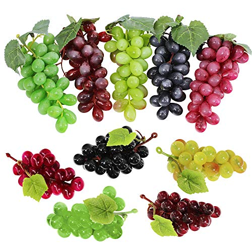 Supla 10 Pack Assorted Artificial Grapes Frosted Grape Clusters Decorative Grapes Bunches Rubber Grape Bundles in Black Purple Red Green for Vintage Wedding Favor Fruit Wine D
