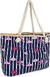 styleBREAKER XXL Strandtasche mit Streifen Flamingo Print und Reißverschluss, Schultertasche,...