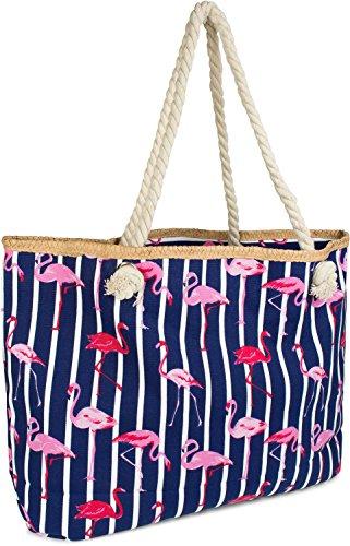 styleBREAKER XXL Strandtasche mit Streifen Flamingo Print und Reißverschluss, Schultertasche, Shopper, Damen 02012252, Farbe:Dunkelblau-Weiß