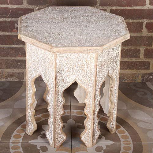 Casa Moro Orientalischer Beistelltisch Mariam 49x49x54 cm (B/T/H) achteckig in Shabby Chic weiß aus Massivholz Hand-geschnitzt | Kunsthandwerk aus Marrakesch | Vintage Sofatisch Couchtisch | NH09202