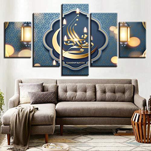 ZYBKOG Leinwandbild 5 Leinwand Gemälde Modulare Wohnkultur Rahmen 5 Stücke Islam Allah Der Koran...
