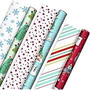 Hallmark Trendy Reversible Christmas Paper (3 Rolls: 120 sq ft TTL) Koalas Gift Wrap, Tri-Pack, Kid Trend