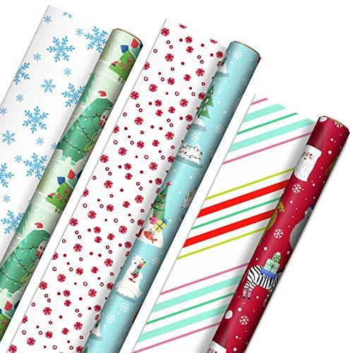 Hallmark Trendy Kids Reversible Christmas Paper (3 Rolls: 120 sq ft TTL) Koalas Gift Wrap, Tri-Pack, Dinosaurs Camels Polar Bears Zebras
