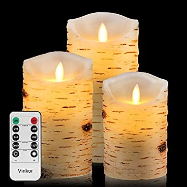 Vinkor Flameless Candles Flickering Candles Decorative Battery Flameless Candle Classic Real Wax Pillar With Dancing LED Flame & 10-key Remote Control 2/4/6/8 Hours Timers (Birch)