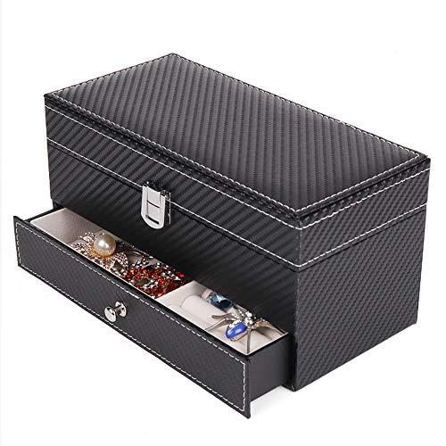 Nwn Uhr- und Manschettenknopf-Vitrine mit Schublade, 2-in-1-Uhr und Manschettenknopf-Manager/Aufbewahrungsbox